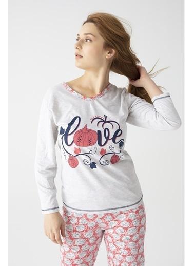 Pemilo Kadın 7000-20 Love Yazılı Uzun Kol Pijama Takımı SOMON Gri